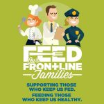 Feed Our Frontline Families Image. Featured is a chef, a nurse and a police officer.